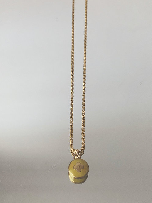 """Authentic Reworked LV Flower Pendant on our 18"""" Gold Filled Rope Chain"""