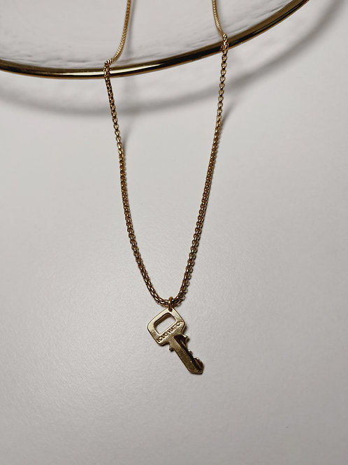 """Authentic Reworked Louis Vuitton Key Pendant on our 18"""" Gold Filled Box Chain"""