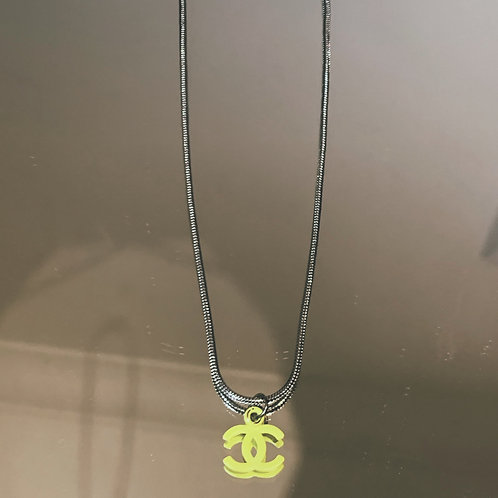 "Authentic Reworked Chanel Logo on our 18"" Silver Chain"