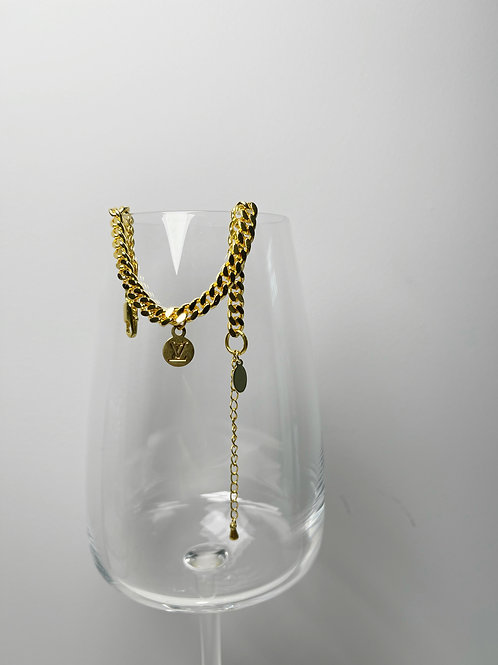 Authentic Reworked LV Gold Bracelet