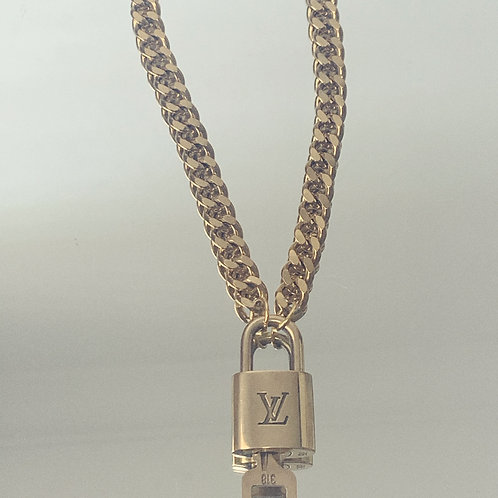"Authentic Reworked LV lock and key pendant on our 16"" Gold Filled Curb Chain"