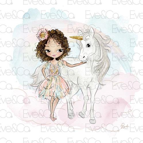 Luna and The Unicorn Illustration