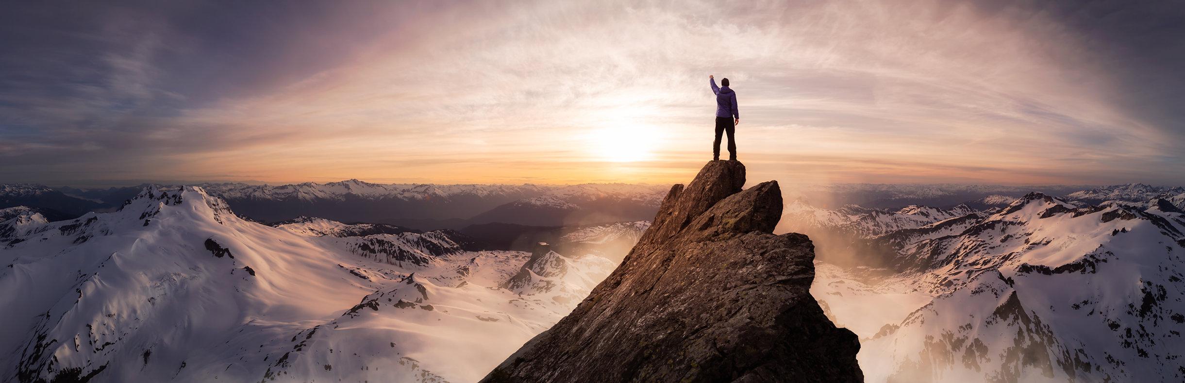 Man on a mountain image