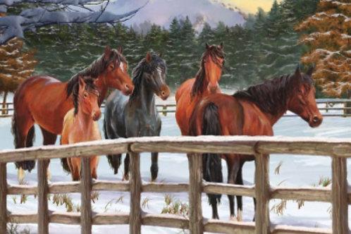 Snowy Pasture Horse Tray Puzzle (35pcs)