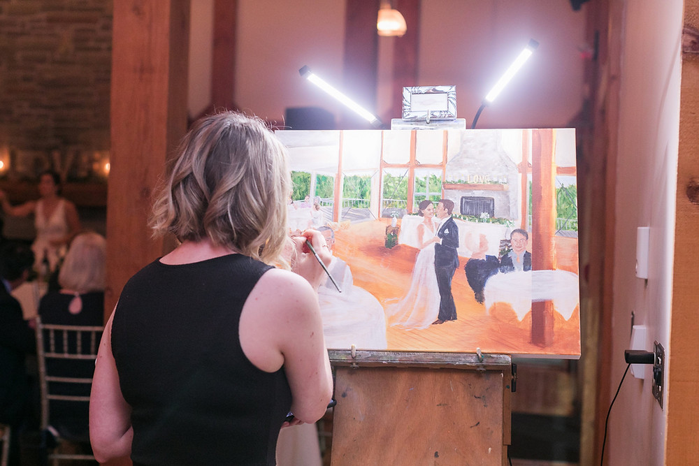 Live wedding painting in progress