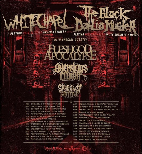 WHITECHAPEL To Kick Off North American Co-Headlining Tour With The Black Dahlia Murder This Week; Ba