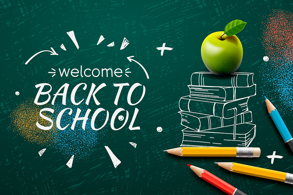 An illustrated graphic of welcome back to school with a stack of books, pencils, and a green apple
