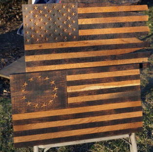 Large Historic Oak Flag