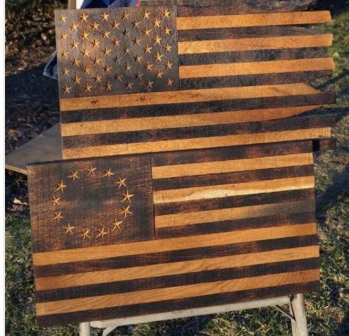 Large Historic Oak Flag