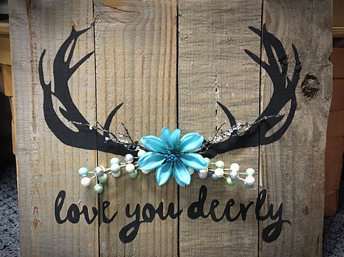 Love you deerly blue flower theme