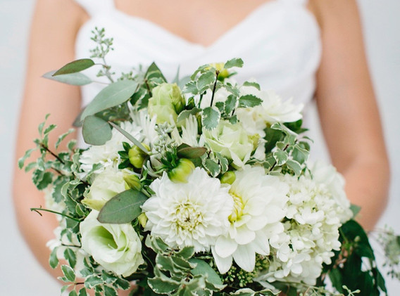 white and green lush bouquet