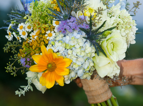 bouquets of yellows and blue