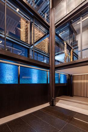 Diseño de casas modernas. Plataforma elevador