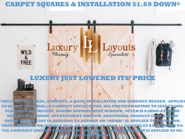 carpet squares and installation 1.69 dow