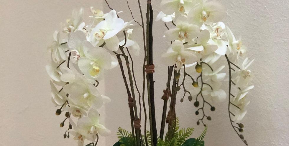 Centro de mesa de orquídeas en base marmoleada