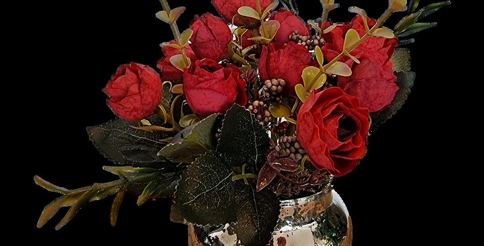 Rosas rojas en jar de vidrio.