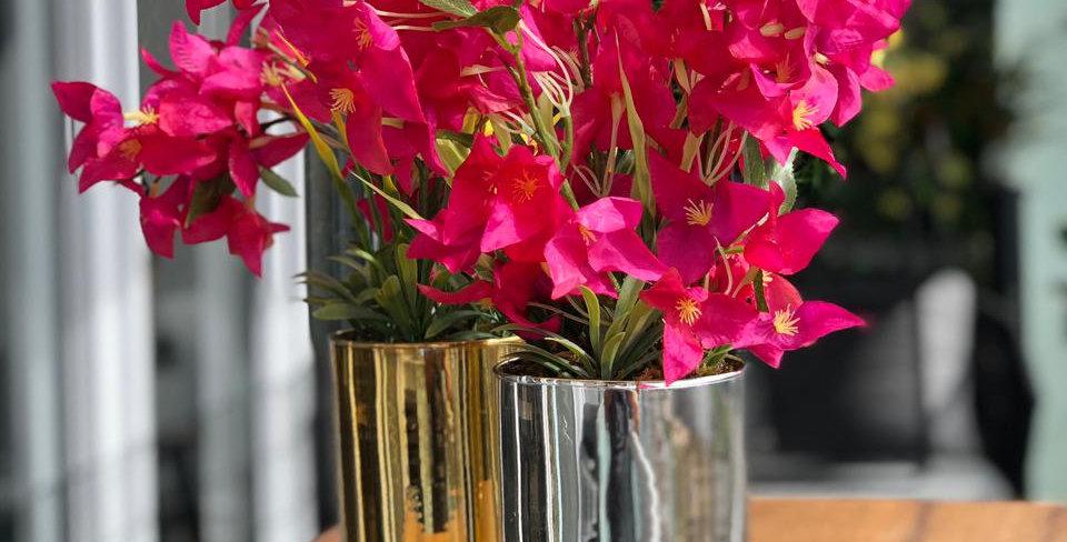Bugambilias en florero de vidrio soplado