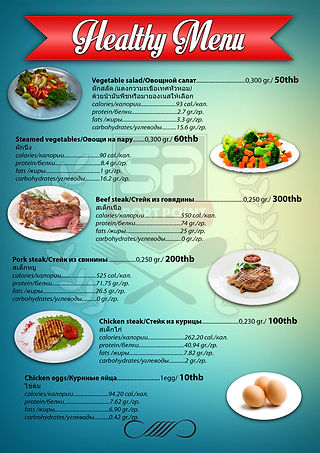 Healthy Menu at Sport Point Cafe Pattaya