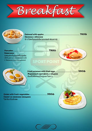 Breakfast Menu at Sport Point Cafe Pattaya