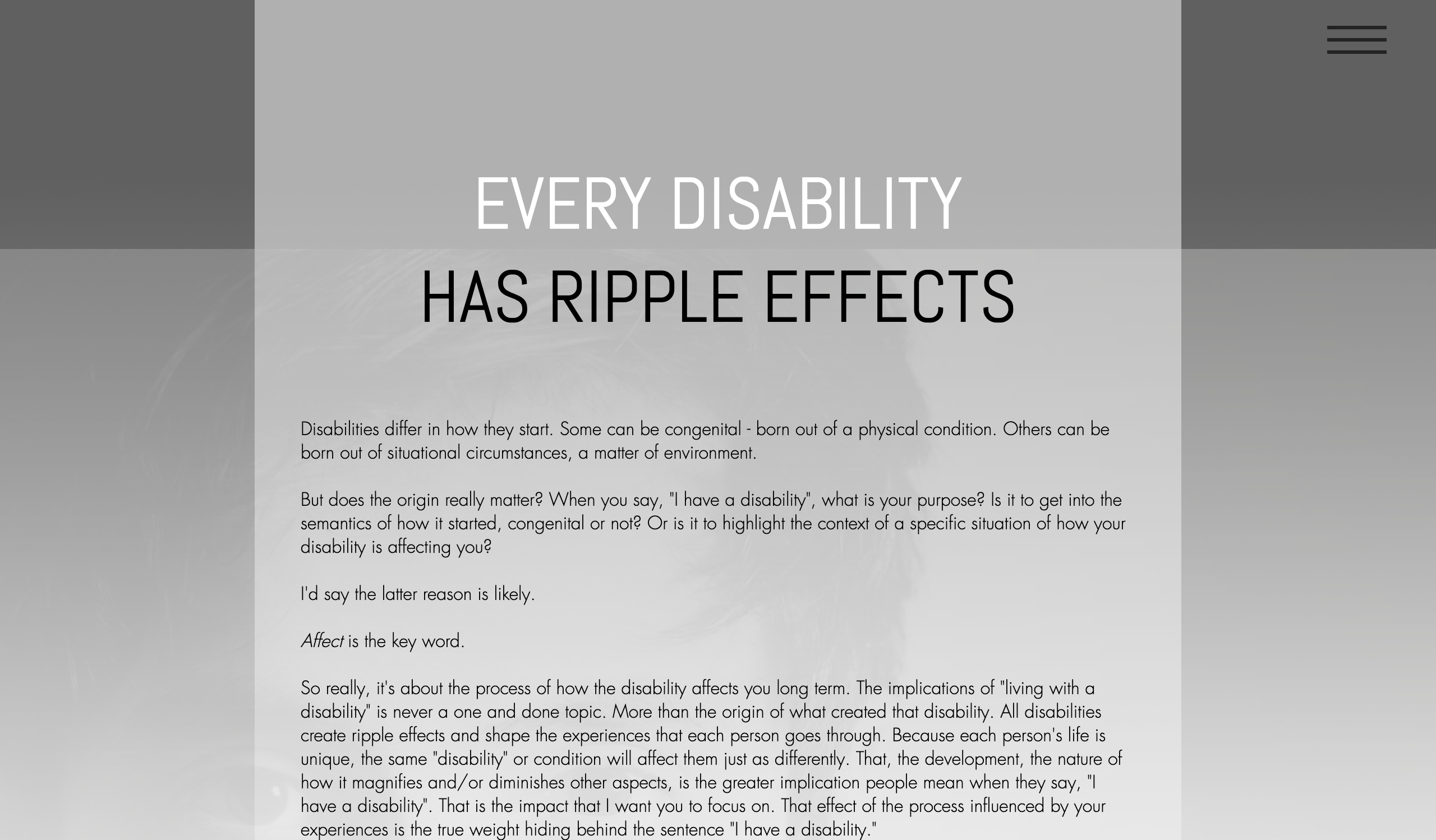 EVERY DISABILITY HAS RIPPLE EFFECTS