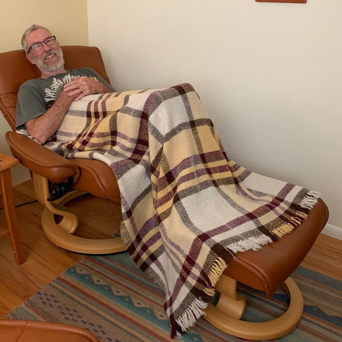 Wool blanket with friend (woven with local sheep/natural dyes)
