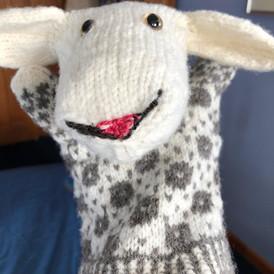 Estonian Sheep Puppet (hand spun wool, natural colors)