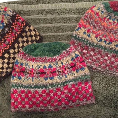 Fair Isle Hats (knitted from local sheep/dyed with natural dyes)