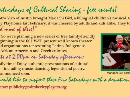 Cultural Sharing Events Coming This Fall!