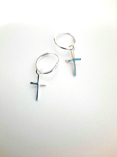 Aros plata cruz