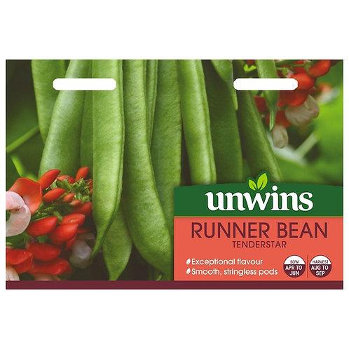 Unwins Runner Bean Tenderstar - Approx 30 Seeds