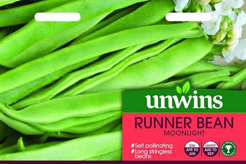 Unwins Runner Bean Moonlight- Approx 35 Seeds