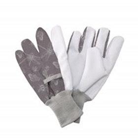 Jersey Cotton Grip Gloves Flutter Bugs Print Purple - Ladies Medium