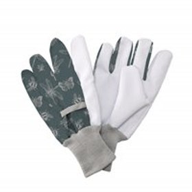 Jersey Cotton Grip Gloves Flutter Bugs Print Teal - Ladies Medium