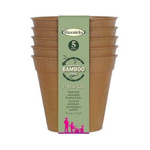 "3"" Bamboo Pots (Haxnicks)"