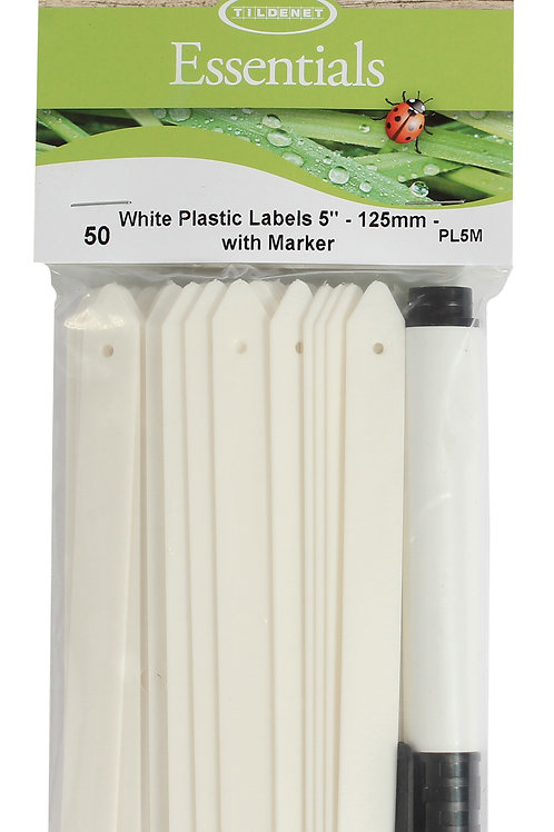 """White Plastic Labels 5"""" (125mm) With Marker"""