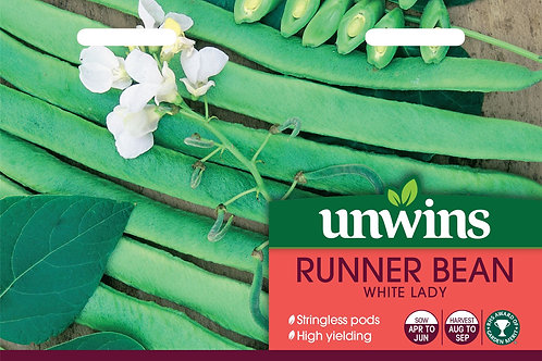 Unwins Runner Bean White Lady - Approx 30 Seeds