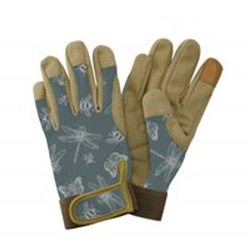 Premium Comfort Gloves Flutter Bugs Print Teal - Ladies Small