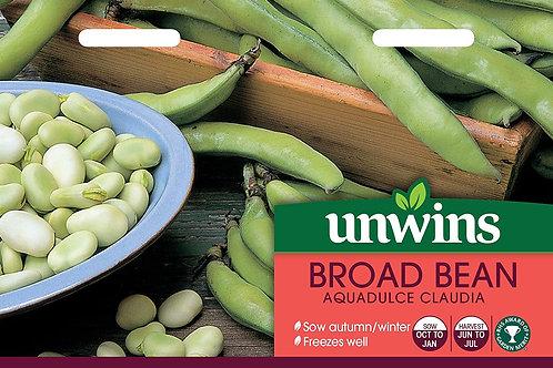 Unwins Broad Bean Aquadulce Claudia - Approx 40 Seeds