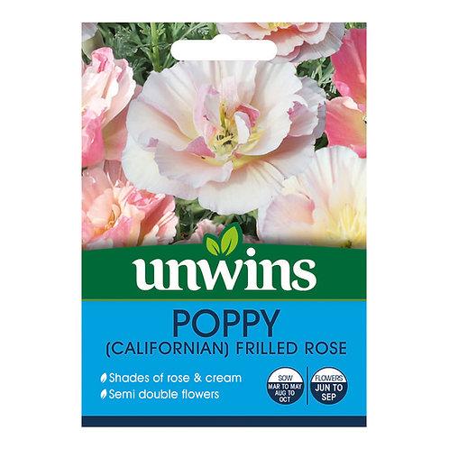 Unwins Poppy (Californian) Frilled Rose - Approx 150 Seeds