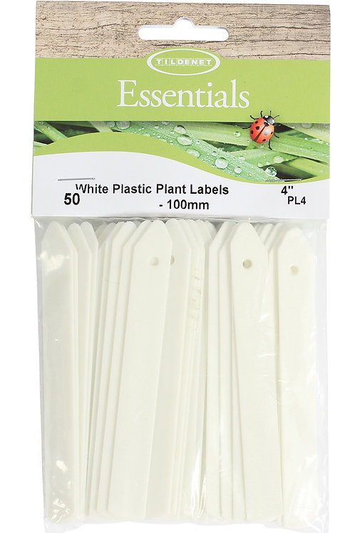 "White Plastic Plant Labels 4"" (100mm)"