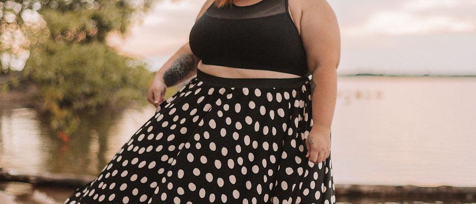 Black Polka Maxi Circle Skirt