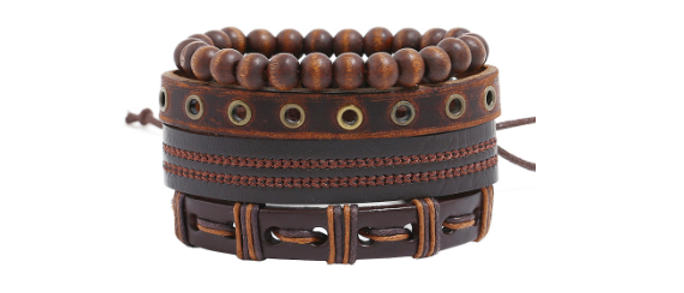 Steampunk Leather Bracelet Set
