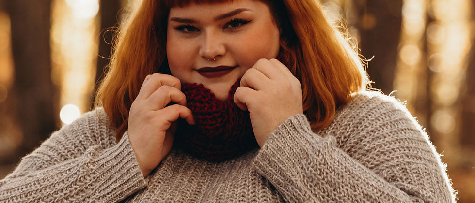 Red Infinity Wool Scarf