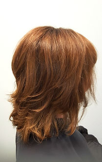 Layered bob with chestnut hair color