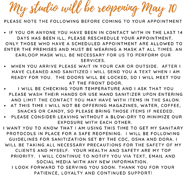 Yay! My studio will be reopening May 10