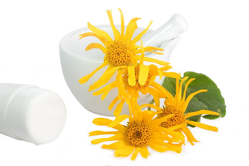 Arnica blossoms with mortar and cream tu