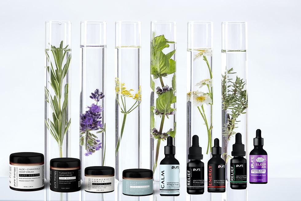Pure Therapy MD products, Pure CBD oil, Pure Relief, Slumber CBN, Pure Calm, Pure Restore, Pure Balance