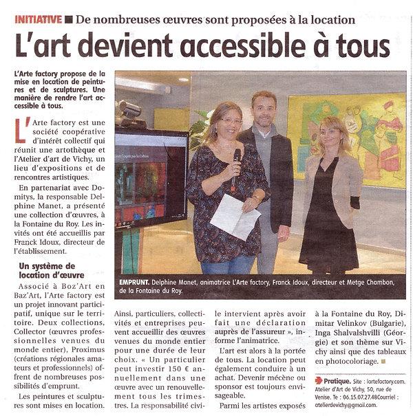Article Journal L'Arte Factory oct 2019.