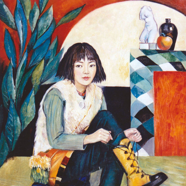 Girl with yellow boots, 115x80, oil on c