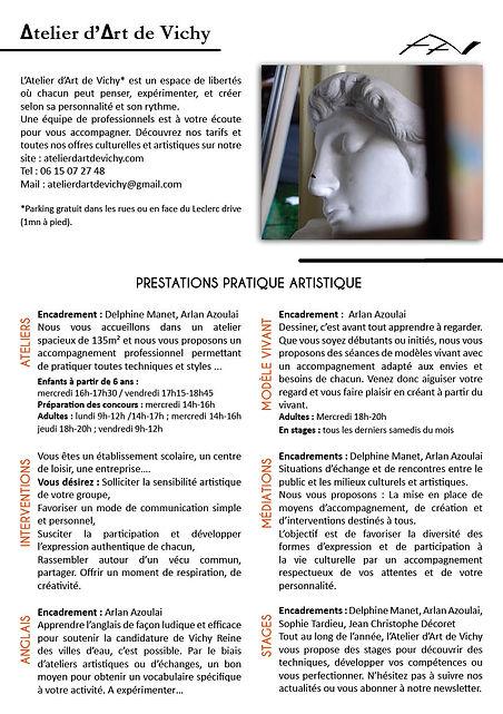 Flyer de présentation Atelier d'Art de V